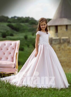 shiny satin long trail tulle skirt dress with small pearl studded appliquéd bodice