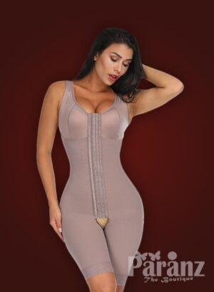 3 row hook closure sleeveless full body shaper with open stall new
