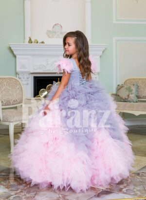 Baby pink-purple ruffle-tulle flared and high volume floor length gown for little girls back side view