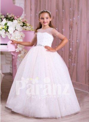 Beautiful pearl white floor length high volume tulle skirt dress with rhinestone waist belt for girls