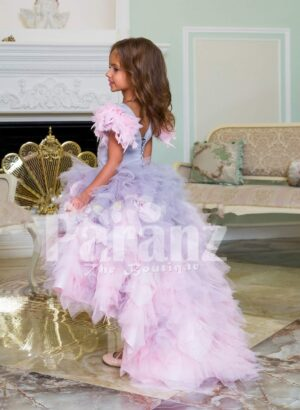 Beautiful tulle-ruffle multi-color cloud skirt baby gown with sequin work satin-sheer bodice side view