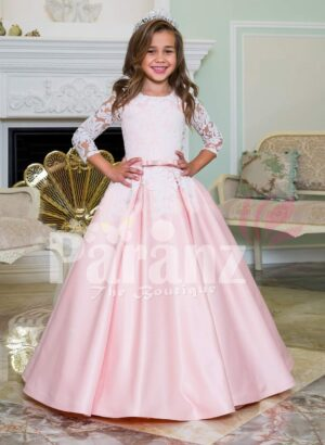 Floor length metallic pink baby gown with lace-sheer work elegant bodice