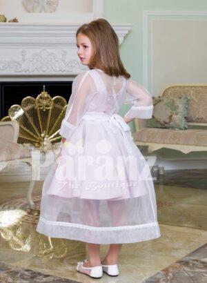 Full sheer sleeve rich satin white tea length dress for girls side view