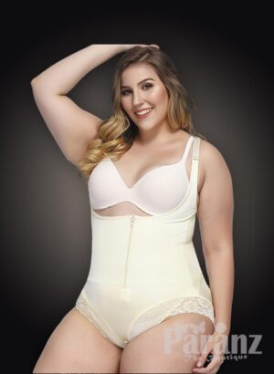 Open-bust style all white front zipper closure underwear body shaper new view