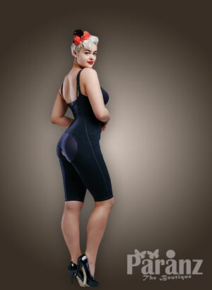 Open-bust style side zipper closure thigh compression underwear body shaper in blue new side view