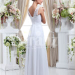 Paranz's exclusive pearl white wedding gown with satin-sheer royal bodice for women back side view