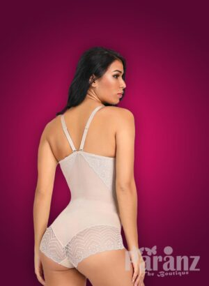 Semi-open bust style lace work buckle attach strappy sleeve body shaper new side view