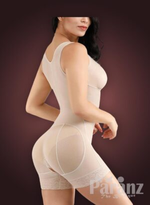 Sleeveless front hook closure custom fit tummy slimming body shaper side view