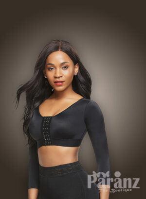Slim fit cross posture corrector body shaper bra in black