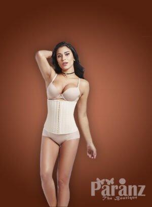 Tummy corrector high waist underwear body shaper with front zipper closure New White