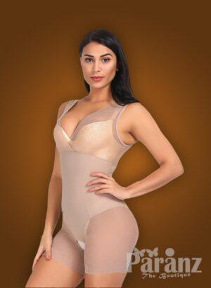 V cut neckline full body shaper with advanced waist slimming new side views