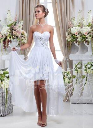 Women's elegant off-shoulder pearl white rich satin high low wedding dress
