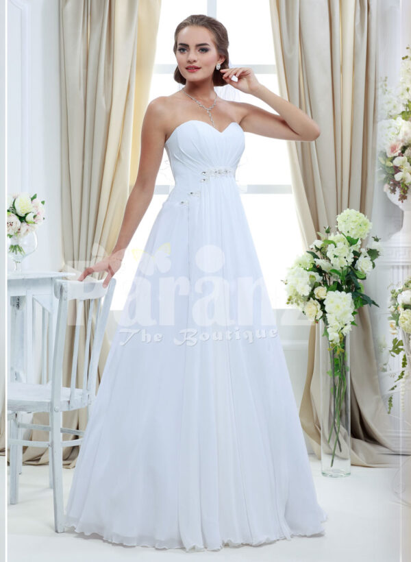 Women's elegant off-shoulder satin floor length wedding gown with tulle skirt underneath