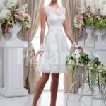 Women's elegant tea length rich satin wedding dress with rich rhinestone works
