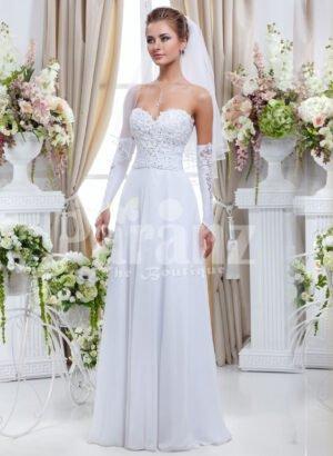 Women's elegant tulle skirt wedding gown with royal rhinestone studded off-shoulder bodice