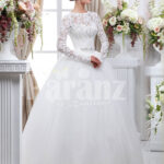 Women's full sleeve beautiful lacy bodice flared tulle skirt wedding gown in white