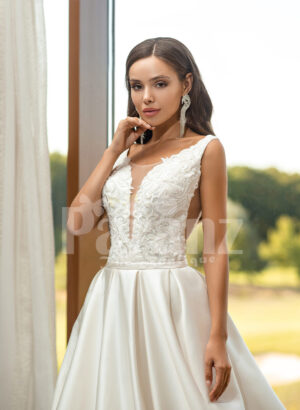 Women's pearl white rich satin flared skirt wedding gown with tulle skirt underneath cloase view