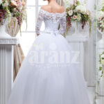 Women's pretty princess style lacy full sleeve wedding gown with flared tulle skirt back side view