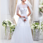 Women's sleeveless lightweight rich satin wedding gown with royal rhinestone works