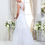 Women's sleeveless lightweight rich satin wedding gown with royal rhinestone works back side view