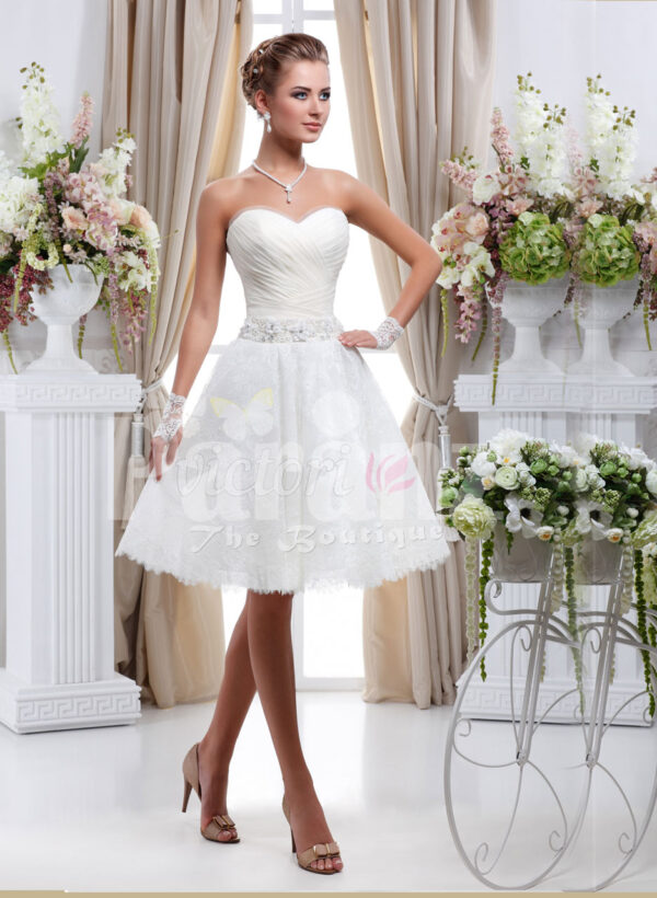 Women's tea length pearl white wedding tulle gown with off-shoulder bodice
