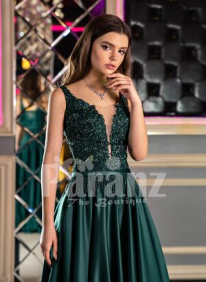 Womens Super Pigmented Green Smooth Satin Evening Gown with Sleeveless Glitz Bodice