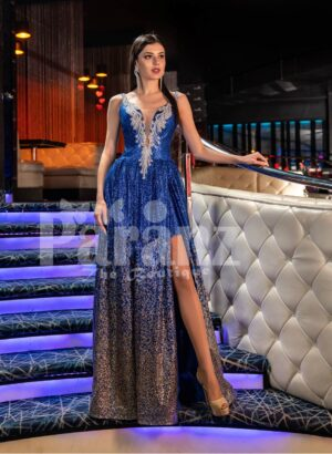 Womens floor length glitz evening gown with side slit skirt and elegant bodice