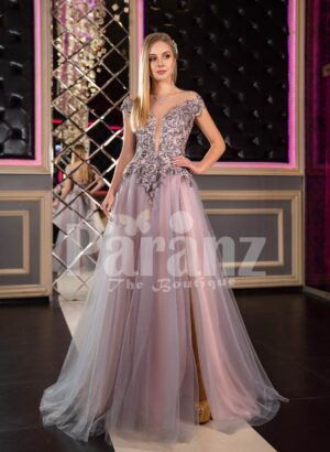 Womens off-shoulder style rich satin-tulle side slit evening gown in pink-purple