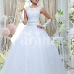 Womens simple and elegant white rich satin wedding gown with flared tulle skirt