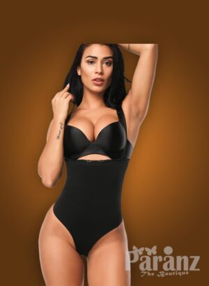 Open-bust style high waist slimming black body shaper